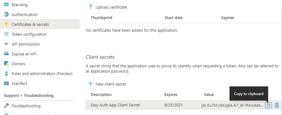 App registration for App Service Easy Auth Step 12